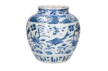 A blue and white porcelain jar decorated with carps and cranes. Unmarked. China, Wanli. H. 26 cm.
