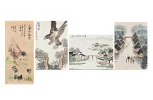 A lot of four scrolls, one depicting an eagle, two depicting houses and boats next to the river and one depicting a little boy and ducklings. Three of them signed Cui Lan and dated 2007. China, 21th century.