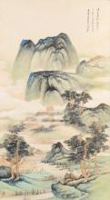 Scroll with a decor of a mountainous landscape with two resting figures. China, 20 century. Dim. 90 x 50 cm.