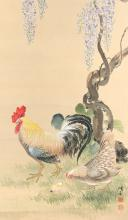 Silk scroll depicting a rooster, mother hen and chicken, signed lower right. China, ca. 1900 Dim. 153 x 56 cm.