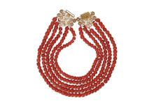 A five-strand red coral necklace with 18-kt gold clasp. 'Zuid-Beveland'. Diam. ca. 8 - 10 mm. Tot. weight 238 gr.