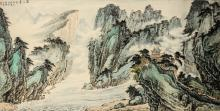 A scroll depicting a mountainous landscape with pagoda and river in Chengdu. Characters and seal mark top left, dated 1983. China, 20th century. Dim. 66 x 130 cm. Provenance: bought in China, 1990.