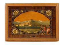 Houten kistje met polychrome beschildering en tekst: 'Erinnerung an die zeh