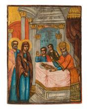 Houten ikoon met polychrome beschildering van Jozef en Maria met kindje Jez