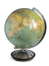 Grote wereld globe van glas met verlichting. Columbus Duo Erdglobus, System