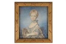 Zijden portretminiatuur van een meisje met poes. Niet gesigneerd. Afm. 20 x