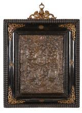 Koperen plaquette met voorstelling van de moeder Gods, Hodegetria. Frankrij