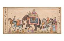 Gekleurde tekening van een Radja op olifant met soldaten en ruiters. Verso