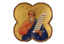 Houten ikoon met polychrome afbeelding van de aartsvader Isaac. Rusland, 19