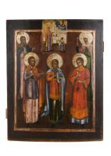 Houten ikoon met polychrome afbeelding van o.a. drie Heiligen. Rusland, 19e