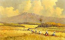 Lucien Frits Ohl (1904-1976), 'The rice harvest', signed lower right, board