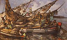 Lucien Frits Ohl (1904-1976), 'Boats in the harbour', signed lower right, c