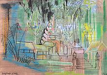 Arie Smit (1916-2016), 'Durga Temple of Kutri, Bali', 1956, signed lower ri