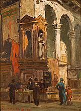 Gerard Pieter Adolfs (1898-1968), 'Book market near an Italian church, poss