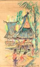 Hasan Djafaar (1919-1995), 'Batak village view', signed lower right, canvas