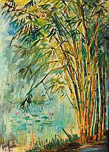 Hasan Djaafar (1919-1995) 'Bamboo trees', signed lower left, canvas, 70 x 5