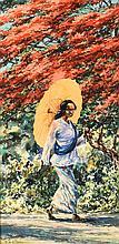 Willem Jan Pieter van der Does (1889-1966), 'Indonesian woman with parasol