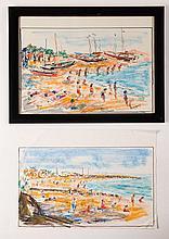 Hasan Djaafar (1919-1995) two beach sceneries, gouache, both signed, ca. 24