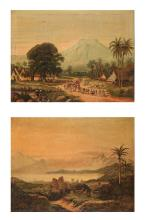 Two early oleographic reproductions on canvas, ca. 1900. One of them is aft