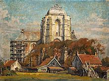 Willem Gerard Hofker (1902-1981), 'View of Veere Cathedral, Zeeland', signe