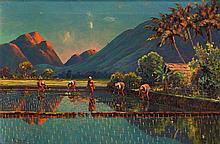 Leo Eland (1884-1952), 'Sunrise at the paddy fields', signed lower left, ca