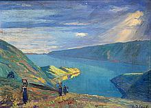 Leo Eland (1884-1952), 'Lake Toba', signed lower right, panel, 24 x 33 cm.