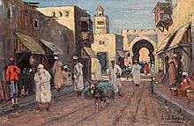 Leo Eland (1884-1952), 'Arab street view', signed lower right, panel, 26 x