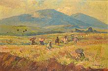 Ernest Dezentjé (1885-1972), 'The rice harvest', signed and dated '48 lower