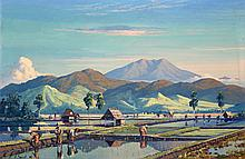 Leo Eland (1884-1952), 'Paddy fields with mountains in the background', sig