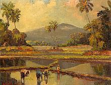 Frederik Anton Kievits (1887-1951), 'Working on the paddy fields', signed l