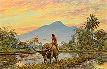 Willem Jan Pieter van der Does (1889-1966), 'Boy on a buffalo', signed lowe