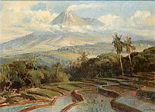 Raden Basoeki Abdullah (1915-1993), 'View of a sawah with the Merapi in the