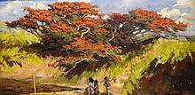 Raden Basoeki Abdullah (1915-1993), 'Resting figures under a flamboyant', s