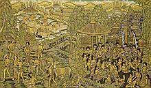 Attributed to Ida Bagus Made Nadera (1910-1998), 'Bali life', canvas, 84 x