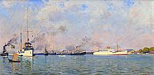 Hendrik Arend Ludolf (Hal) Wichers (1893-1968), 'KPM ships at the port of B