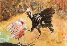 Ronald Frijling (1917), 'Fighting roosters with spectators', signed lower r