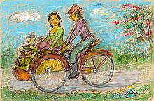 Otto Djaya (1916-2002), 'Rickshaw', signed and dated 1993 lower right, goua