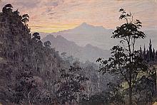 Willem Jan Pieter van der Does (1889-1966), 'Sunset in the mountains', sign