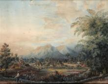 Anna Mortier-Ramus (19th century), 'View on a village near paddy fields', s