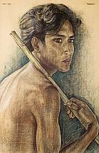 Rudolf Bonnet (1895-1978), 'Balinese young man holding a bamboo stick', sig