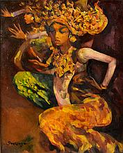Joseph René Gockinga (1893-1962), 'Balinese dancers', signed lower left, ca