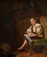 Moritz von Schwind (1804-1871), 'Het dagboek', gesigneerd r.o., paneel, afm