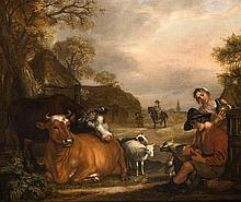 Jan Victors (1619-1676), 'Landschap met vee en personages', gesigneerd r.o.