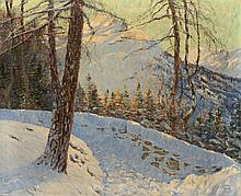 Johann Georg Dreydorff (1873-1935), 'Winter berglandschap met dennenbomen',