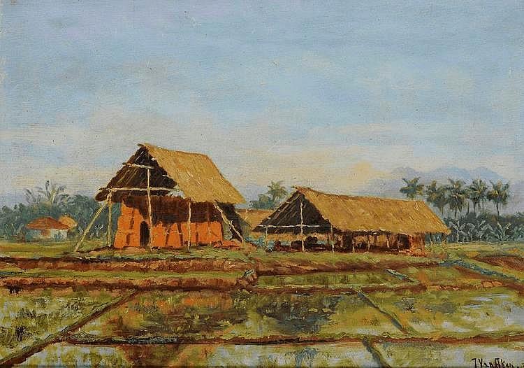 Jan van Aken (1905-?), 'Sawah met schuren',