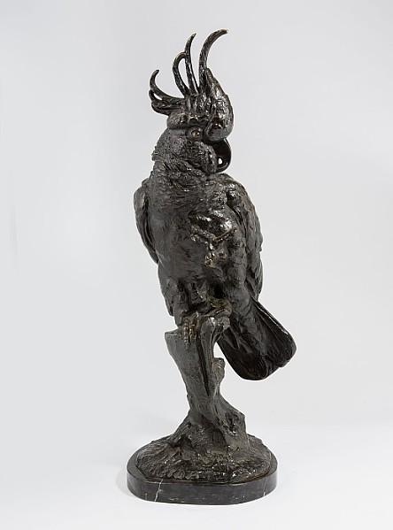 Große Bronzeplastik eines Kakadu