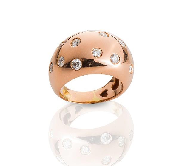 Rosegold-Ring mit Brillanten,