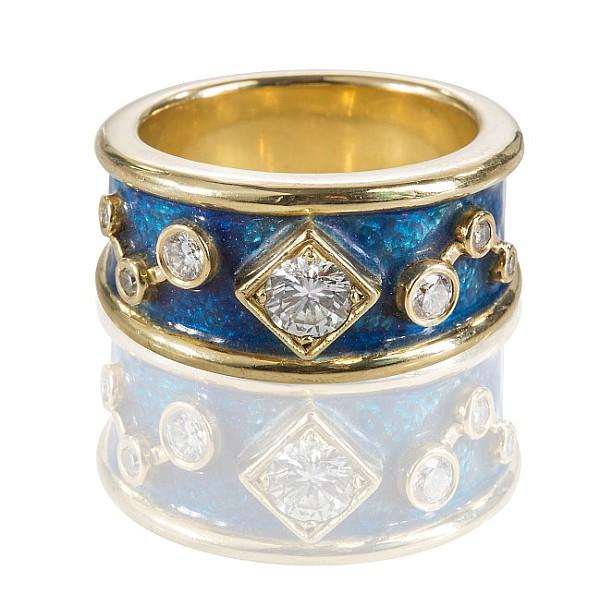Gelbgold-Ring mit Brillanten,