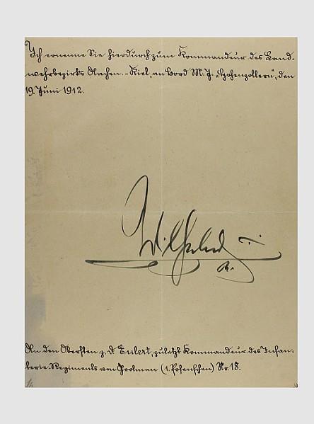 Originalunterschrift Kaiser Wilhelm II.