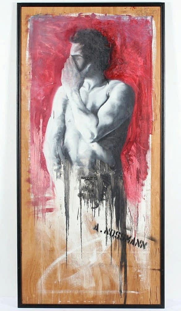 NOSSMANN, Andreas, ''Aktfigur (Selbstbildnis)'', Öl/Holztafel, 190 x 90, g